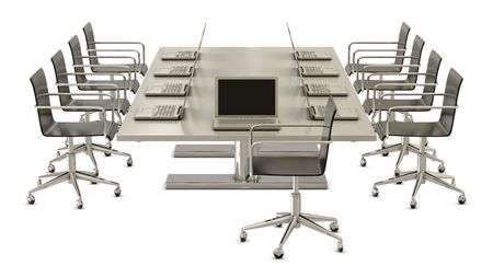 commercially: Ready for meeting, table with chairs and laptops isolated on white background