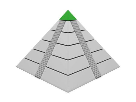 commissions: Pyramid chart green-white with stairs isolated on white background