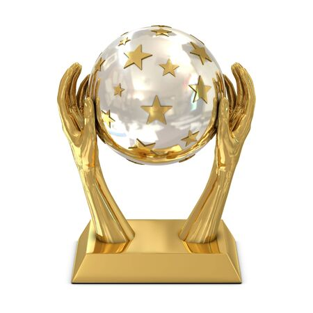 Golden award trophy with stars and hands isolated on white photo