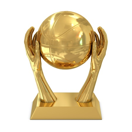 Golden award trophy with stars, hands and basket ball isolated on white photo
