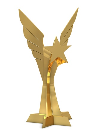 Golden trophy with star and wings isolated on white photo
