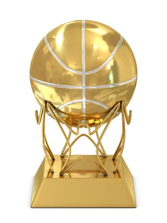 Golden - silver basketball trophy isolated on white photo