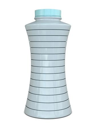 whiteblue: Plastic bottle with horizontal slices white-blue isolated on white background