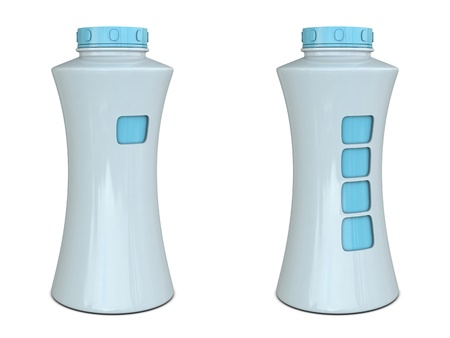 whiteblue: Plastic bottle with place for fingers white-blue isolated on white background