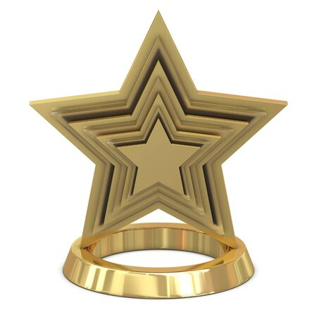 gold cup: Star trophy golden - glass isolated on white background Stock Photo
