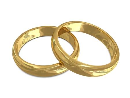 wedding gift: Golden rings isolated on white background