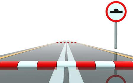 segment: Segment of road with sign and roadblock