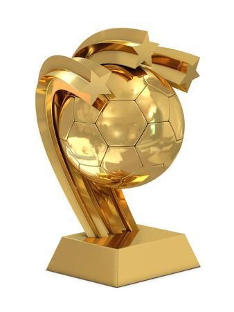 Golden trophy with stars and soccer ball isolated on white Stock Photo - 8805292