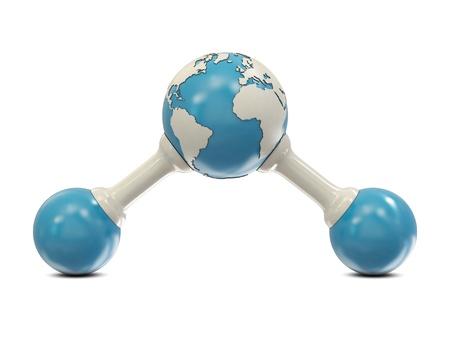 water molecule: Mol�cula de agua abstracto con modelo de tierra aislado en blanco