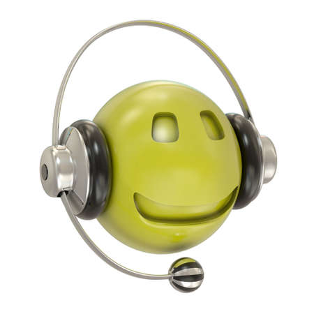 Headphones and smiley character isolated on white photo