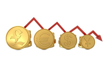 Currencies symbols in golden coins chart and red line isolated on white Stock Photo - 8910377