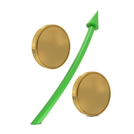 commissions: Percent sign with golden coins and green arrow isolated on white Stock Photo