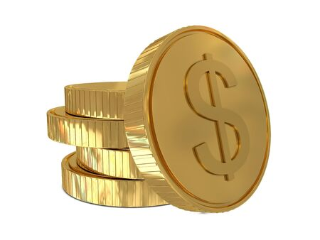 commissions: Dollar sign in golden coin isolated on white background