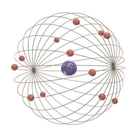 Multiple electron paths around the nucleus on white background Stock Photo - 8910385