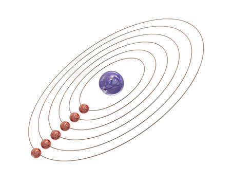 Electrons and paths around the nucleus on white background Stock Photo - 8992441