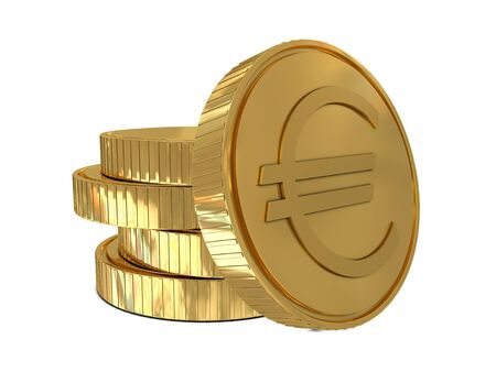 commissions: Euro sign in golden coin isolated on white background