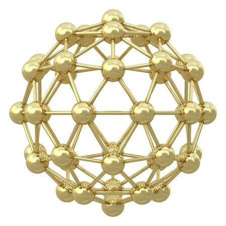 Spherical golden molecular grid isolated on white background Stock Photo - 8992451