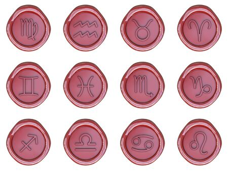 Wax seal with zodiac signs isolated on white background photo