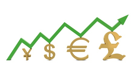 commissions: Golden currencies symbols and green growth line isolated on white background