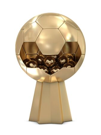 Golden soccer trophy with one big and group of small balls photo