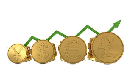 Currencies symbols in golden coins chart and green line isolated on white background photo