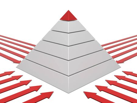 commissions: Pyramid chart red-white with red arrows arround