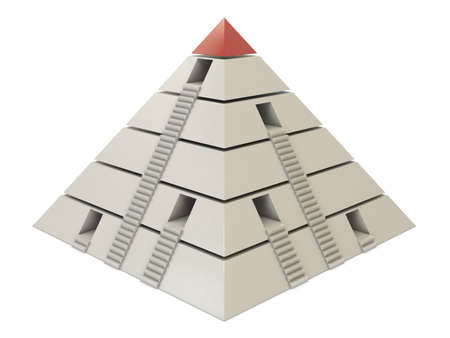 Pyramid chart red-white with stairs and holes isolated on white background photo