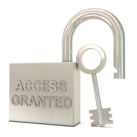 granted: Opened padlock, key and access granted text isolated on white background Stock Photo