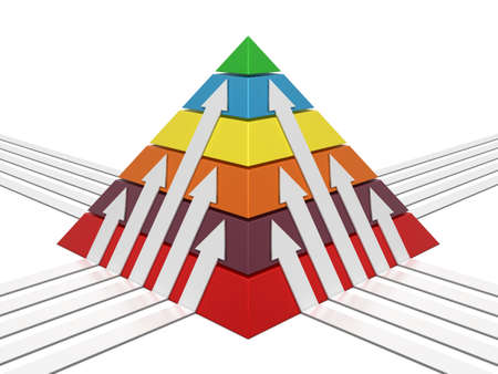 commissions: Pyramid sliced chart multicolor with white arrows