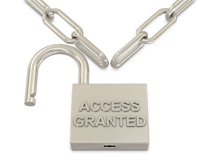 access granted: Chain and opened padlock with access granted text