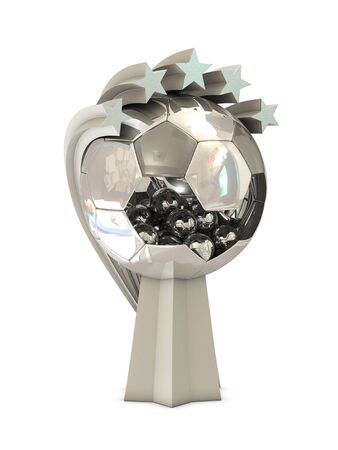 Silver trophy with big and small balls and stars isolated on white background Stock Photo - 9457790