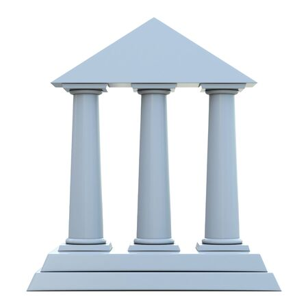 Ancien bâtiment avec 3 colonnes isolées sur fond blanc Banque d'images