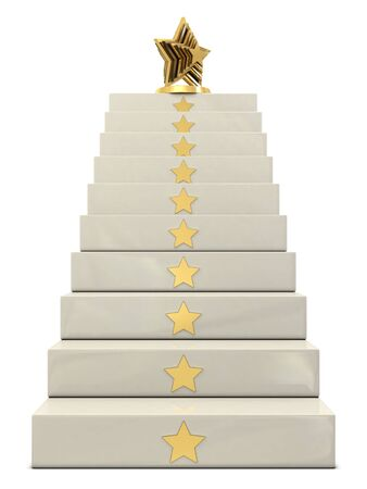 step up: Stairs and golden star trophy on the top isolated on white background
