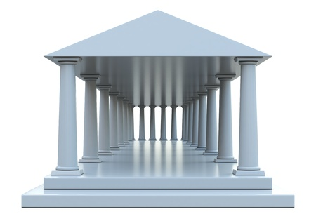 Ancient building with columns and roof isolated on white background photo