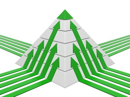 commissions: Pyramid chart green-white with green arrows Stock Photo