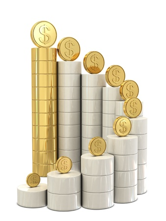 Spiral stairs and golden dollar coins isolated on white background photo
