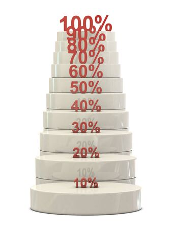 commissions: Stairs and red percent numbers isolated on white background Stock Photo