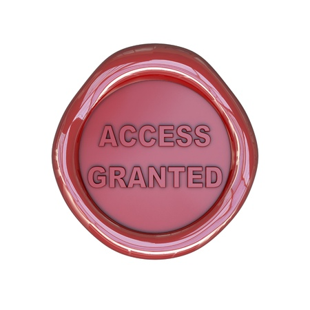 granted: Wax seal with access granted text isolated on white background