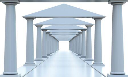 templo griego: Edificio antiguo con techo en una de las filas y columnas