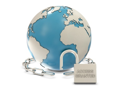 access granted: Earth, chain and opened padlock with access granted text isolated on white background