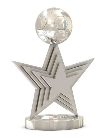 Silver soccer trophy with multiple stars and ball isolated on white background photo