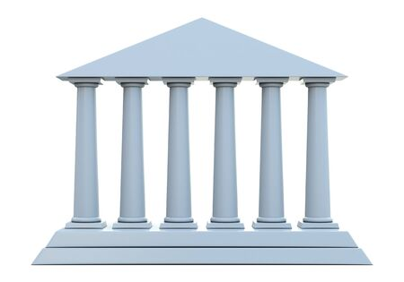 Ancient building with 6 columns isolated on white background photo