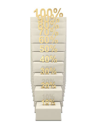 Stairs and golden percent numbers isolated on white background photo