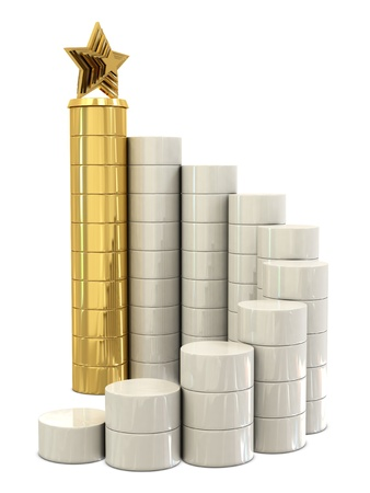 spiral stairs: Spiral stairs and golden star trophy on the top isolated on white background Stock Photo