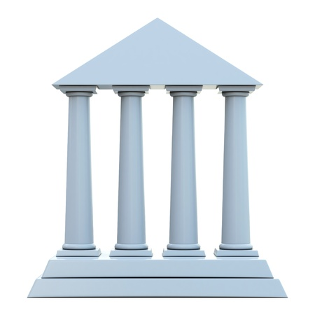 roman column: Ancient building with 4 columns isolated on white background