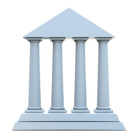 columnas romanas: Antiguo edificio con 4 columnas aisladas sobre fondo blanco