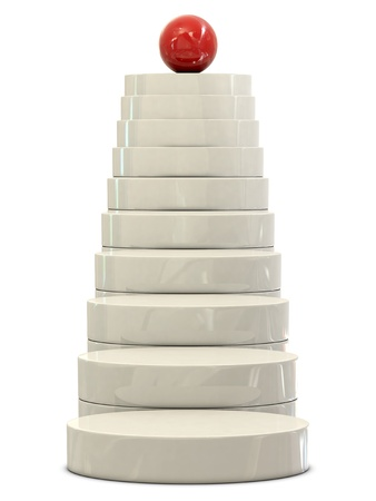 commissions: Stairs and red ball isolated on white background