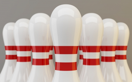 sports league: Group of bowling pins closeup on gray background