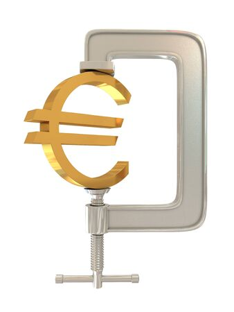 euro screw: G clamp and Euro sign isolated on white background Stock Photo