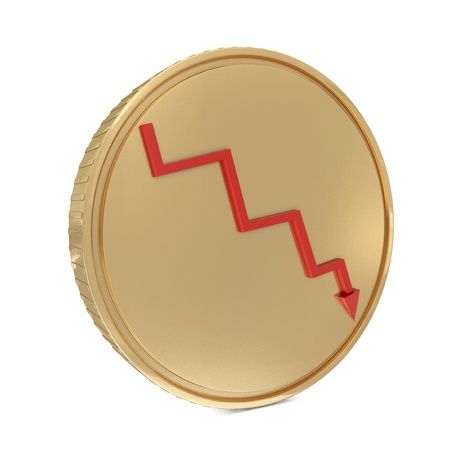 commissions: Golden coin with red line isolated on white Stock Photo